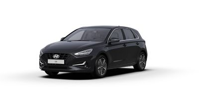 Front side view of the new Hyundai i30 in the colour Phantom Black.