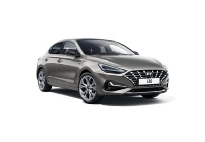 The new Hyundai i30 Fastback pictured from the passenger side front.