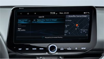 Image of the 10.25-inch screen of the new Hyundai i30, showing live point of interest.
