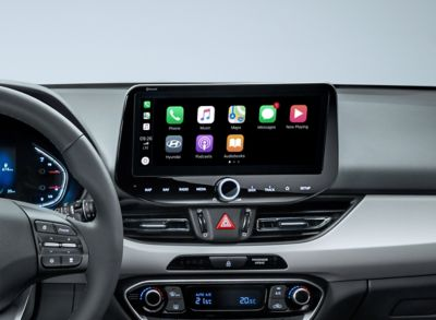 "The new Hyundai i30 10.25"" touchscreen with Apple CarPlay icons displayed."