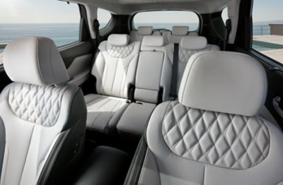 Interior view of the new Hyundai Santa Fe 7 seat SUV showing all the seats.